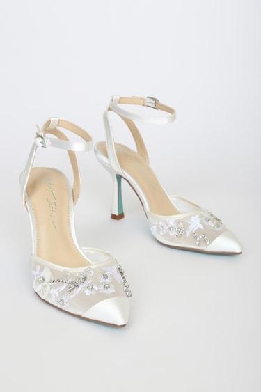 Betsey Johnson SB-Zola Ivory Satin Rhinestone Pointed-Toe Ankle-Strap Pumps