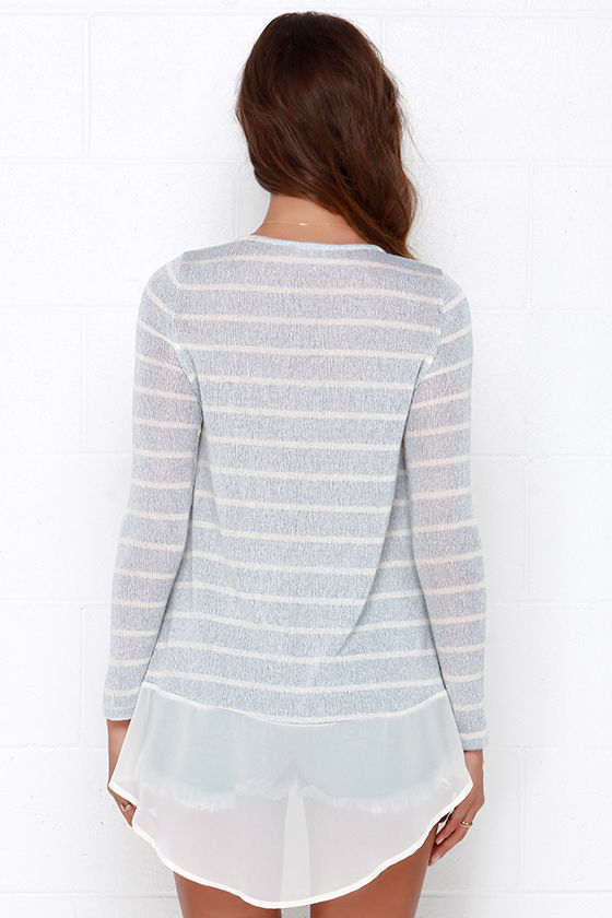Frost at Sea Striped Blue Sweater Top at Lulus.com!