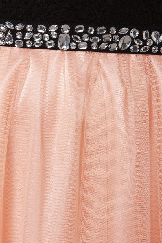 Twinkle, Twinkle Little Starlet Peach and Black Dress at Lulus.com!