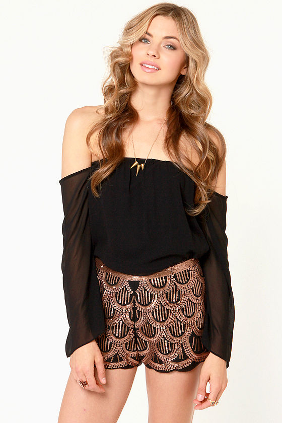 Bronze Over Beauty Black and Bronze Sequin Shorts at Lulus.com!