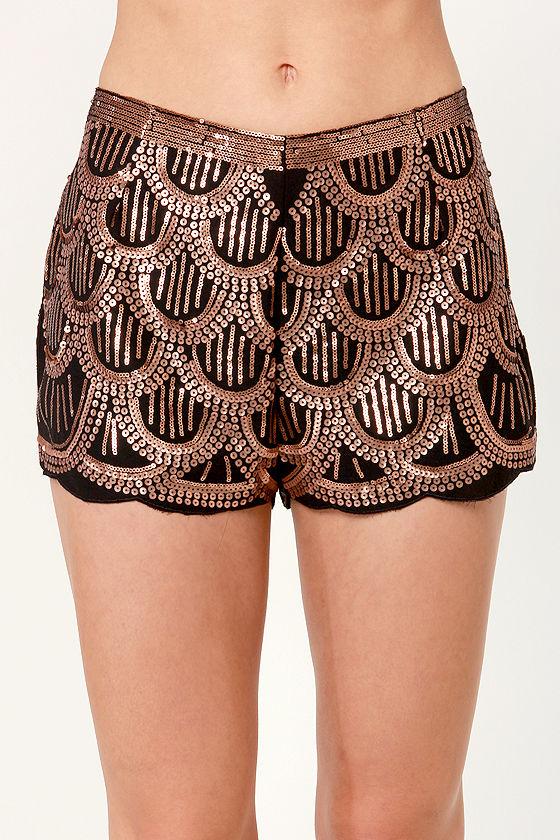 Womens Sequin Skirt - Black / Gold Tassel Skirt
