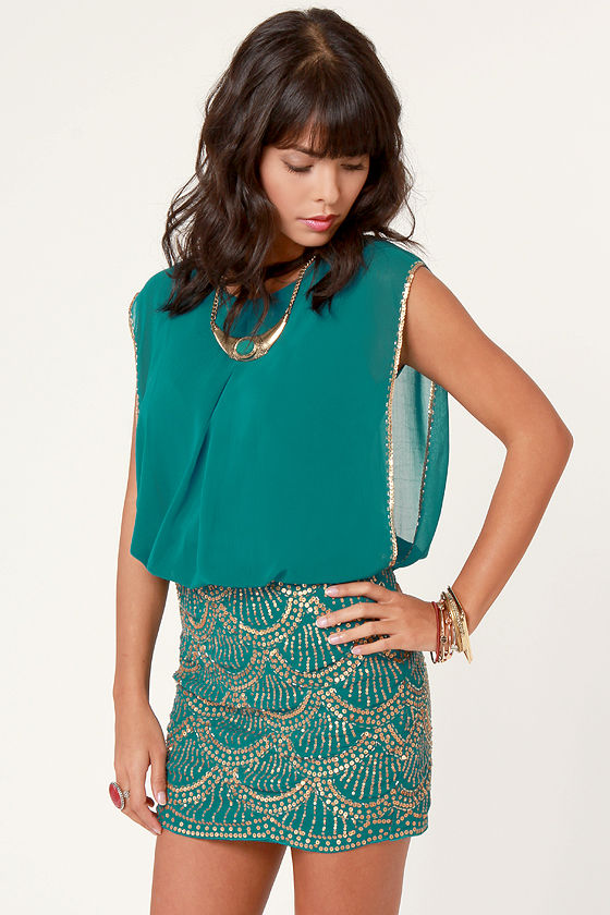 La Sirena Teal and Gold Sequin Dress - $75 : Fashion Shop by Color ...