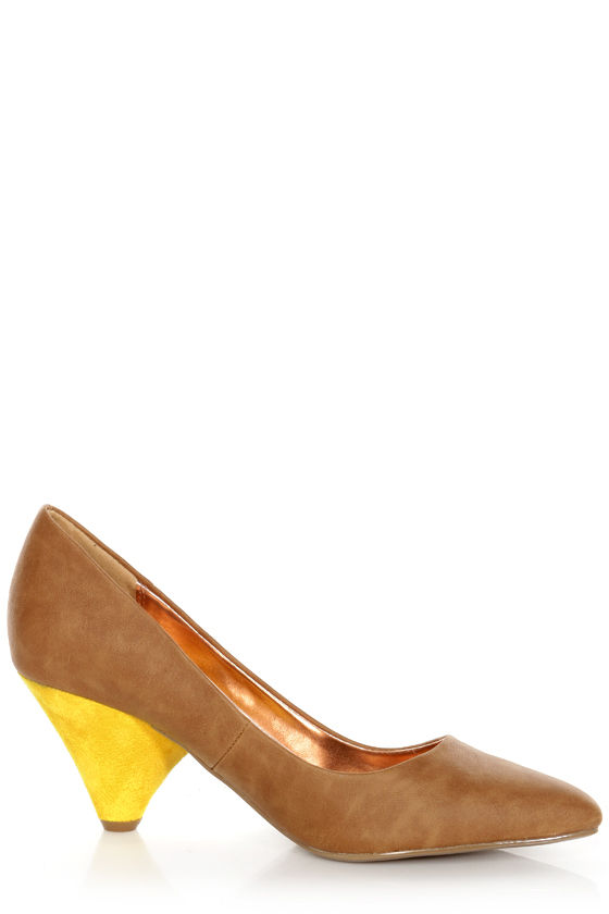 GoMax Zenith 01X Brown and Yellow Kitten Heels at Lulus.com!