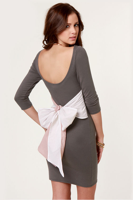 Two for the Bow Grey Dress at Lulus.com!