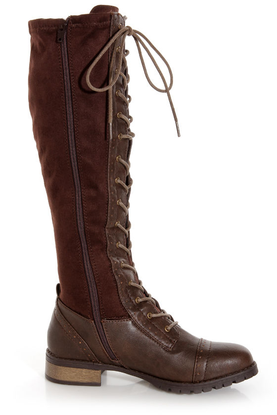 Wild Diva Lounge Bojana 12 Brown Brogue Two-Tone Lace-Up Boots at Lulus.com!