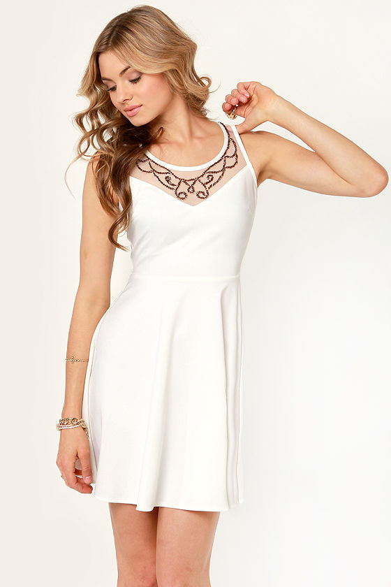 Regal Eye Beaded Ivory Dress at Lulus.com!