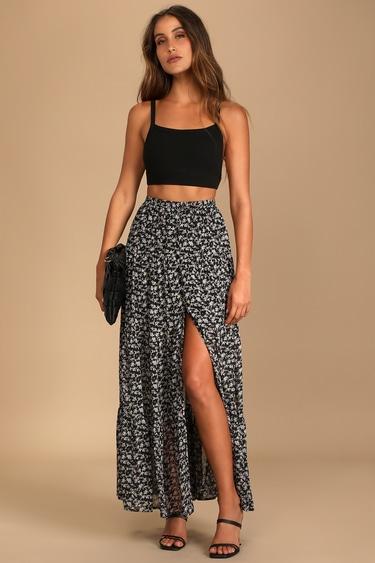 Subtle Sweetness Black Floral Print Tiered Maxi Skirt