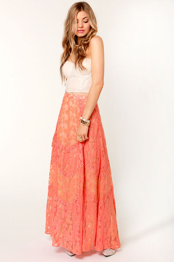 Honeysuckle Peach Lace Maxi Skirt at Lulus.com!