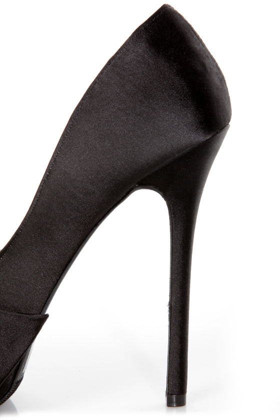 Qupid Miriam 79 Black Matte Satin Sculpted Bow Platform Pumps at Lulus.com!