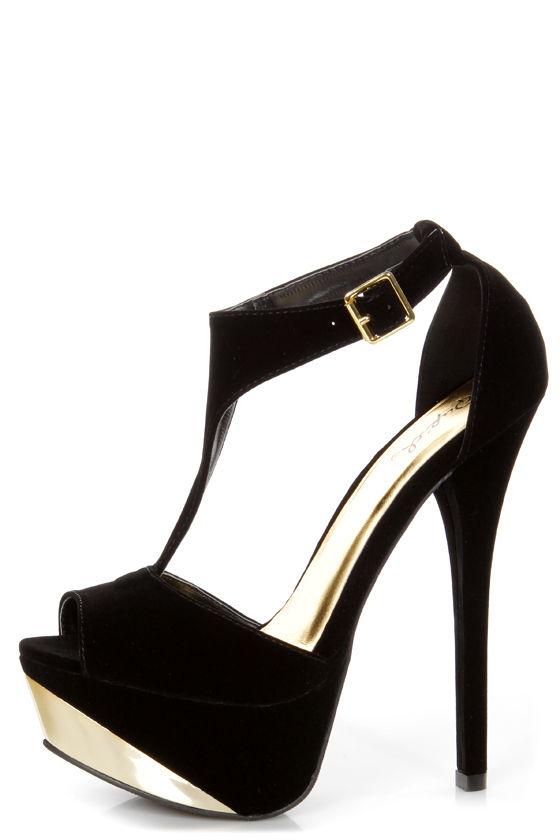 black t strap platform heels