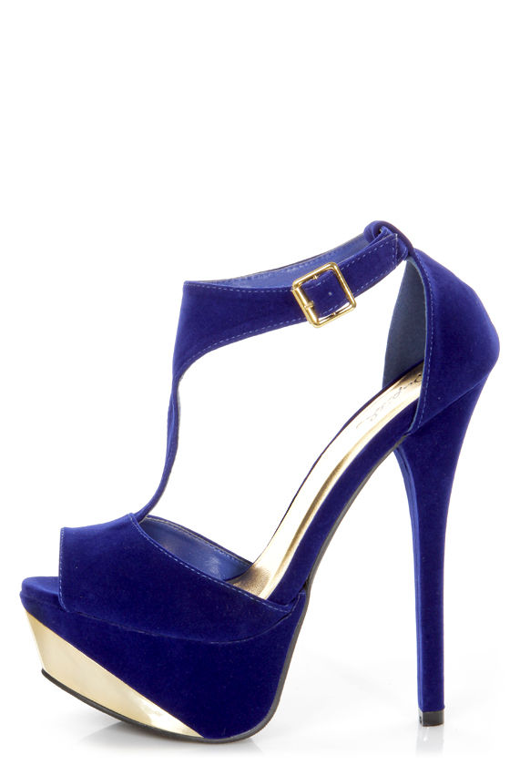 Qupid Count 09 Royal Blue Velvet and Gold T Strap Platform Heels at Lulus.com!