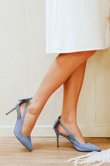 Sarika Slate Blue Suede Pointed-Toe Slingback Bow Pumps
