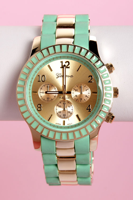 On Your Side Mint and Gold Watch at Lulus.com!