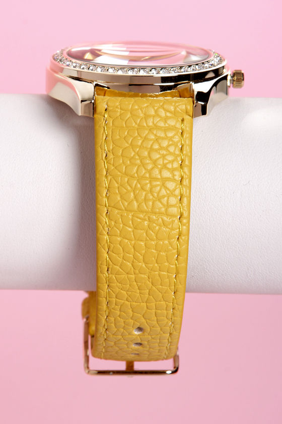 Tick Tock of the Town Yellow and Gold Watch at Lulus.com!