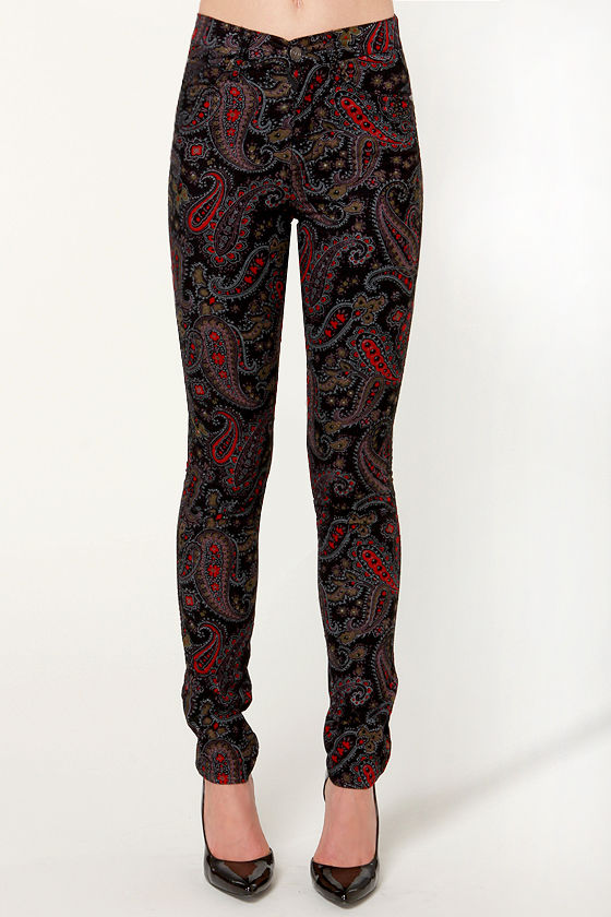 Tripp NYC Paisley High-Waisted Corduroy Pants at Lulus.com!