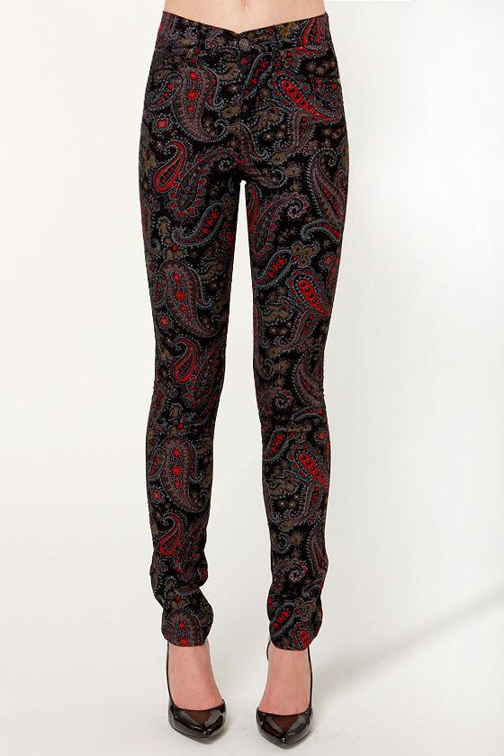 Tripp NYC Paisley Pants - High-Waisted Pants - Corduroy Pants - $80.00