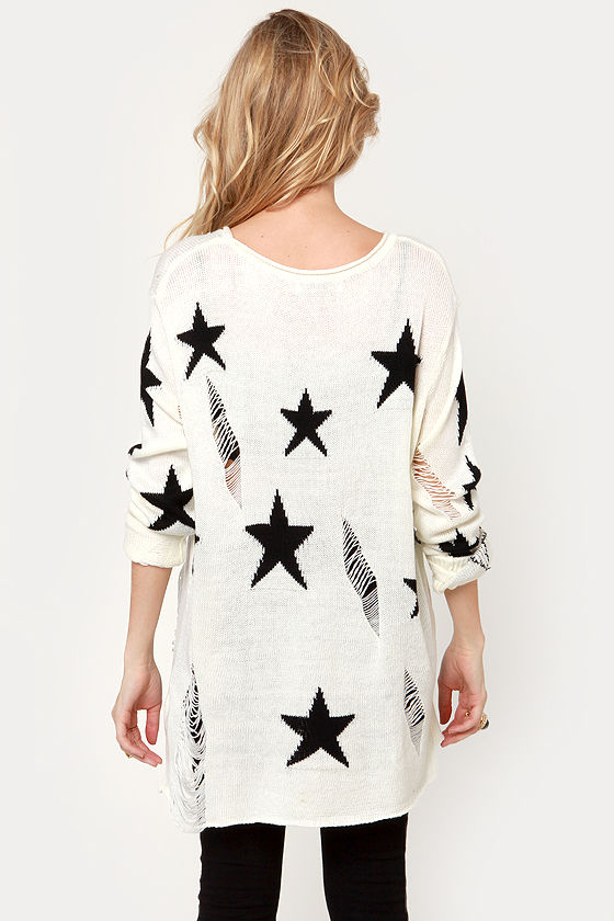 Stand and Star Ivory Star Print Sweater at Lulus.com!
