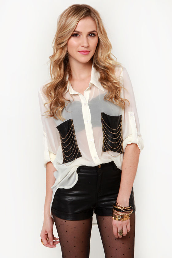 Chains of a Lifetime Ivory Button-Up Top at Lulus.com!