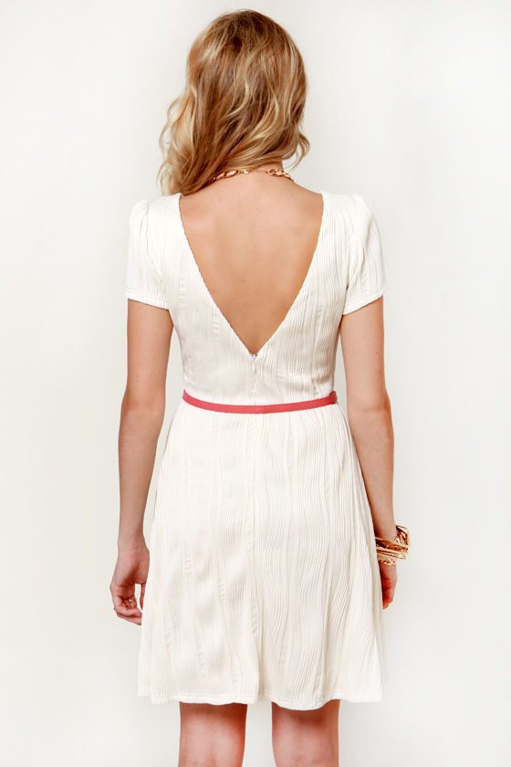 Waves of Meringue Belted Ivory Dress at Lulus.com!