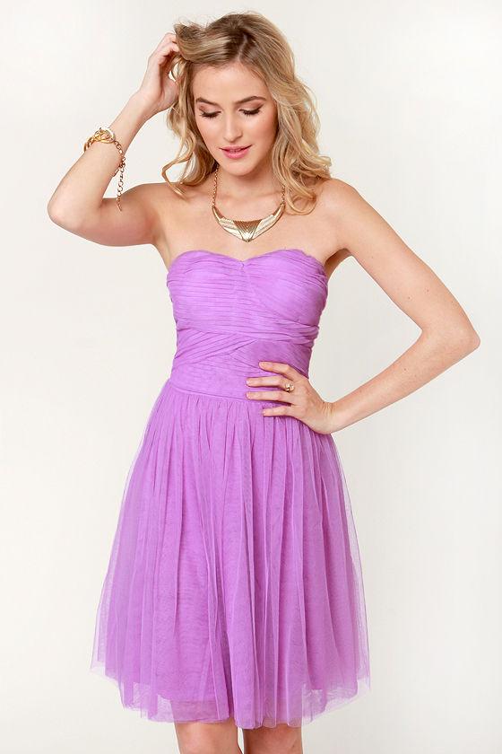 Lovely Lavender Dress - Purple Dress - Strapless Dress - $64.00