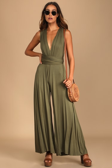Chic By Trade Olive Green Convertible Wide Leg Jumpsuit