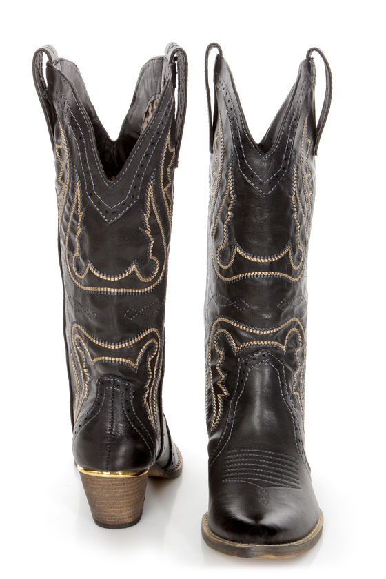 Very Volatile Raspy Black Embroidered Cowboy Boots at Lulus.com!