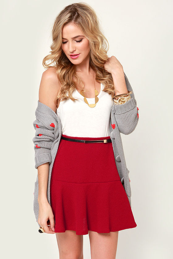 Cute Flared Skirt - Red Skirt - Mini Skirt - $31.00