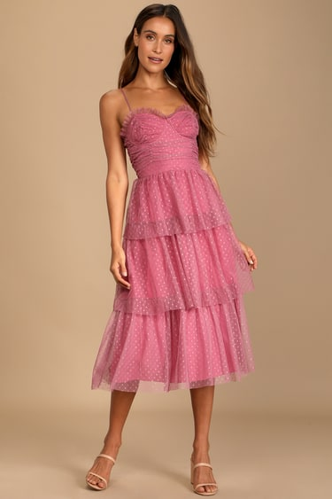 Sweetheart Style Mauve Polka Dot Bustier Tiered Midi Dress