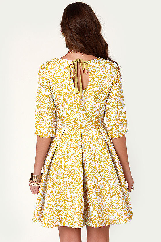Sugar Maple Chartreuse Jacquard Dress at Lulus.com!