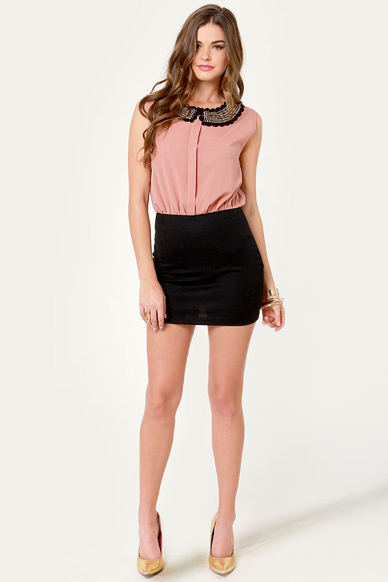 Crocheted-y Lady Black and Blush Dress at Lulus.com!