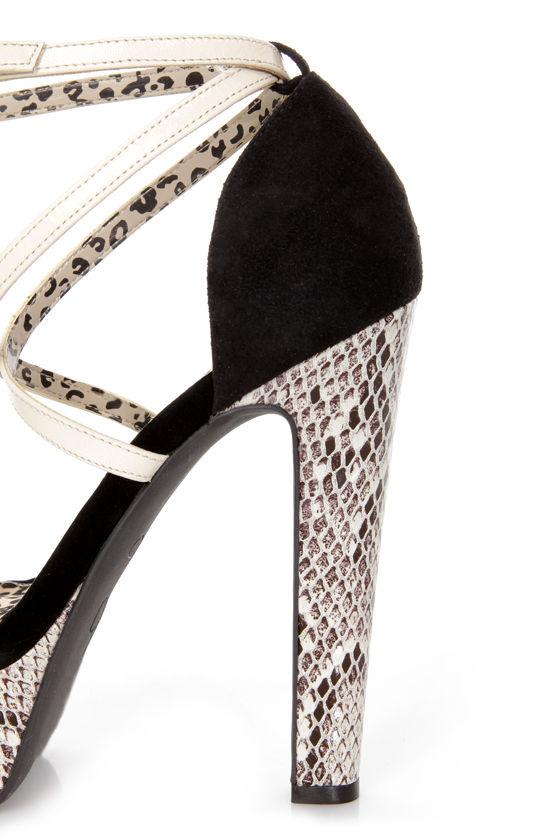 Jessica Simpson Parie Mint Tea Combo Snake Print Platform Heels at Lulus.com!