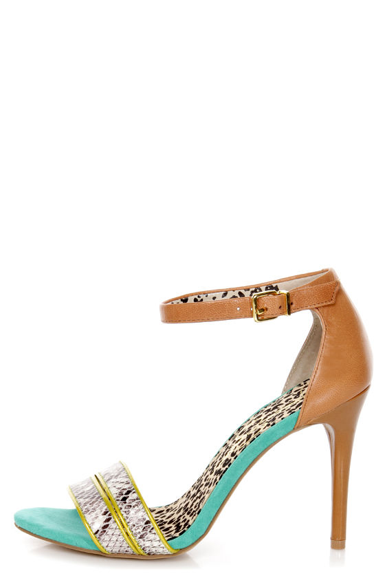 Jessica Simpson Jessies Cloud Stamped Snake Color Block Heels at Lulus.com!