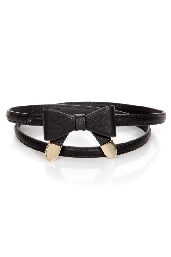 Styling Tips Skinny Black Bow Belt at Lulus.com!