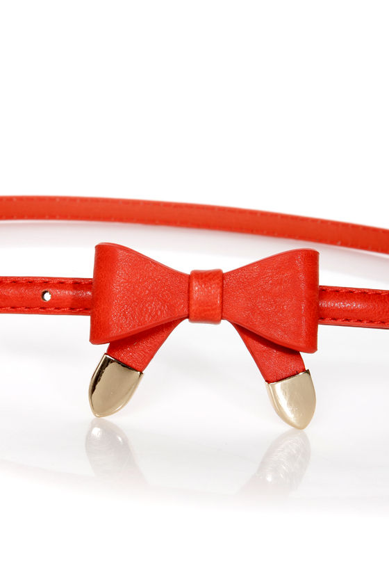 Styling Tips Skinny Orange-Red Bow Belt at Lulus.com!