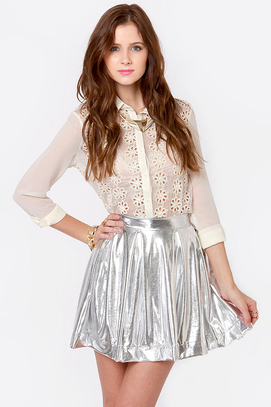 Royal Highness Metallic Silver Skirt at Lulus.com!
