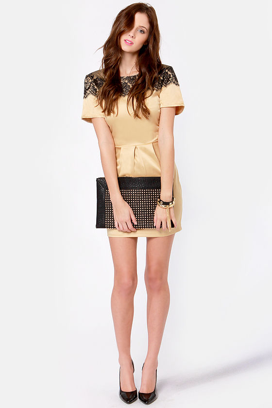 Nights in Gold Satin Dress at Lulus.com!