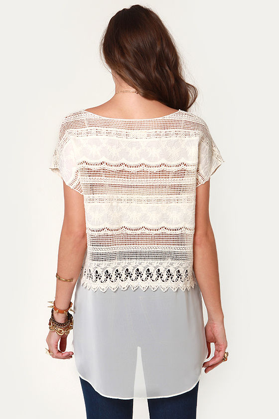 As a Crochet Flies Cream Top at Lulus.com!