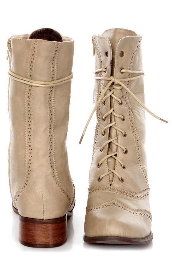 Break 3 Beige Brogue Lace-Up Oxford Boots at Lulus.com!