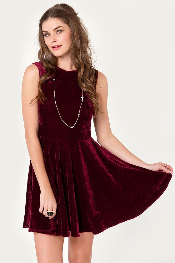 b59cb52e8a Cute Burgundy Dress - Velvet Dress - Skater Dress -  43.00