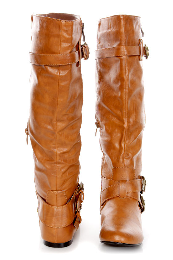 Bianca 5 Tan Zipped and Belted Riding Boots at Lulus.com!