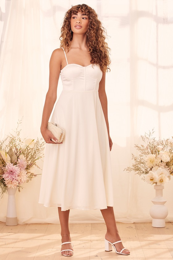 Lulus | Beautiful Beginnings Cream Satin Bustier Midi Dress | Size Large | White | 100% Polyester