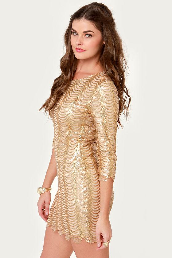 Fancy Gold Dress - Sequin Dress - Cocktail Dress - $78.00