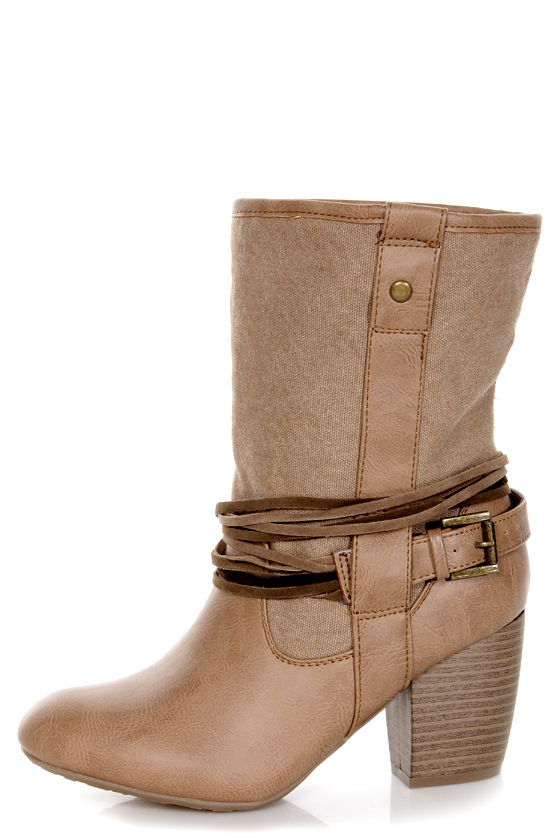 Pink & Pepper Marrakech 3 Natural Multi Canvas Mid-Calf Boots at Lulus.com!