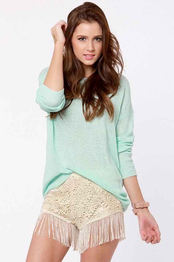Shimmy Choo Beige Fringe Lace Shorts at Lulus.com!