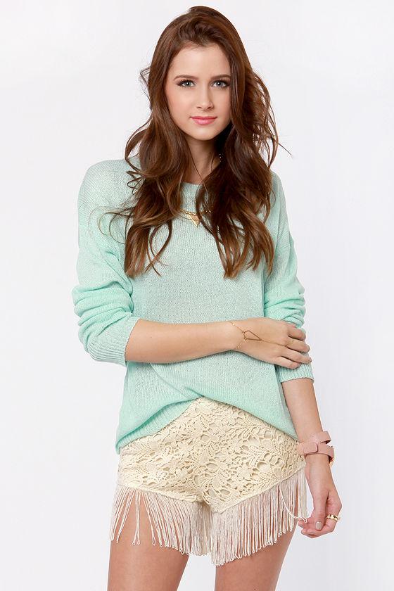 Shimmy Choo Beige Fringe Lace Shorts at Lulus.com!