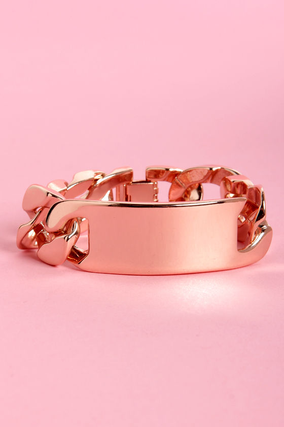 I.D. League Rose Gold ID Bracelet at Lulus.com!