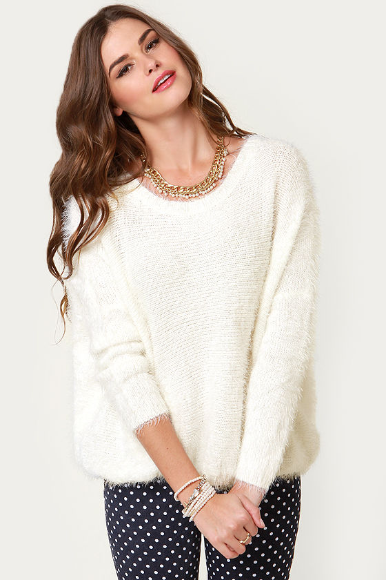 Cute Fuzzy Sweater White Sweater Pullover Sweater 3400