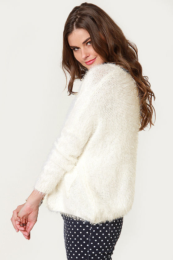 Catch My Snowdrift Fuzzy White Sweater at Lulus.com!