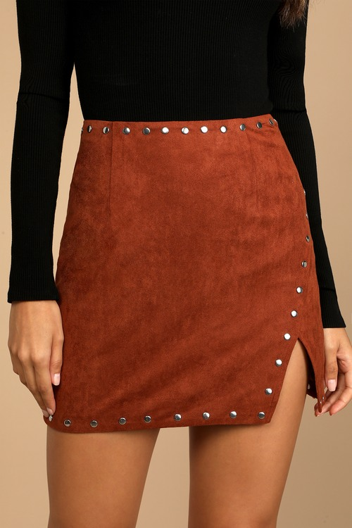 Fall For It Brown Suede Studded Mini Skirt