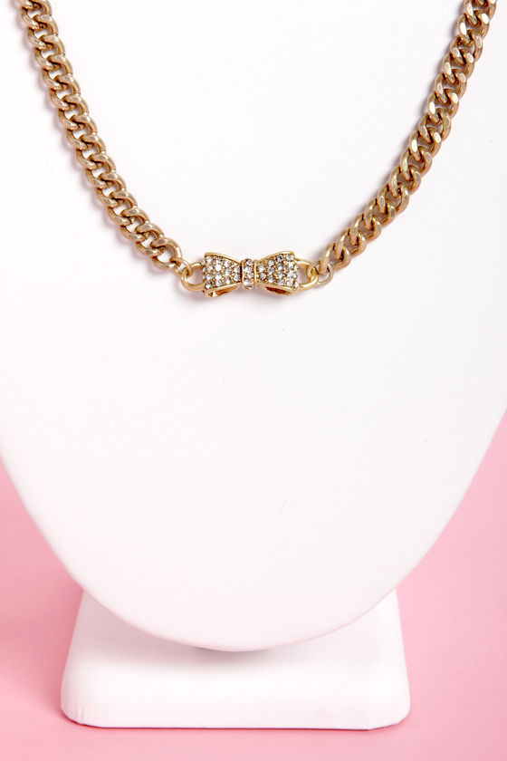 Bow-Chain-gles Gold Bow Necklace at Lulus.com!